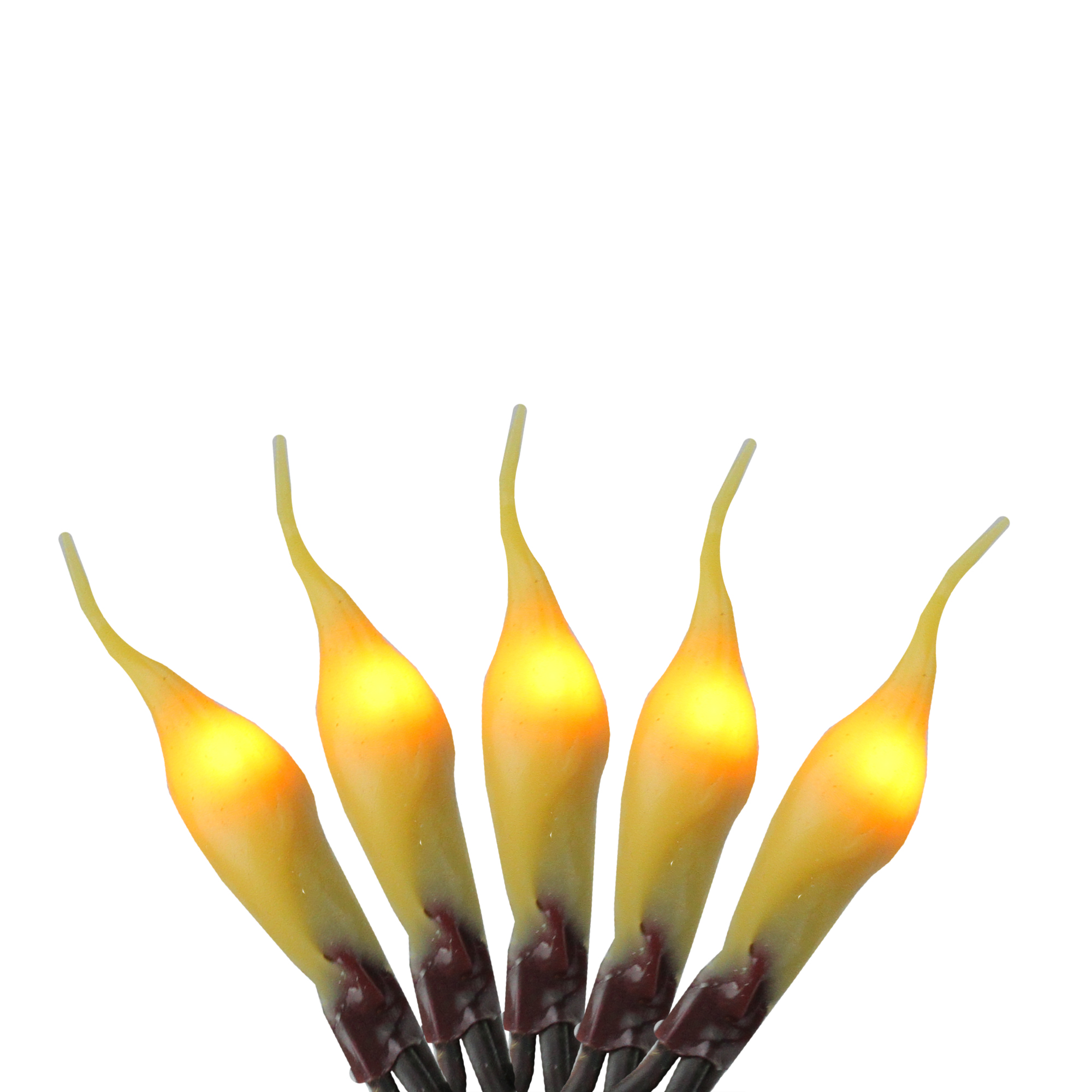 Set of 100 Fireside Amber Micro Silicone Flame Bulb Christmas Lights -Brown Wire