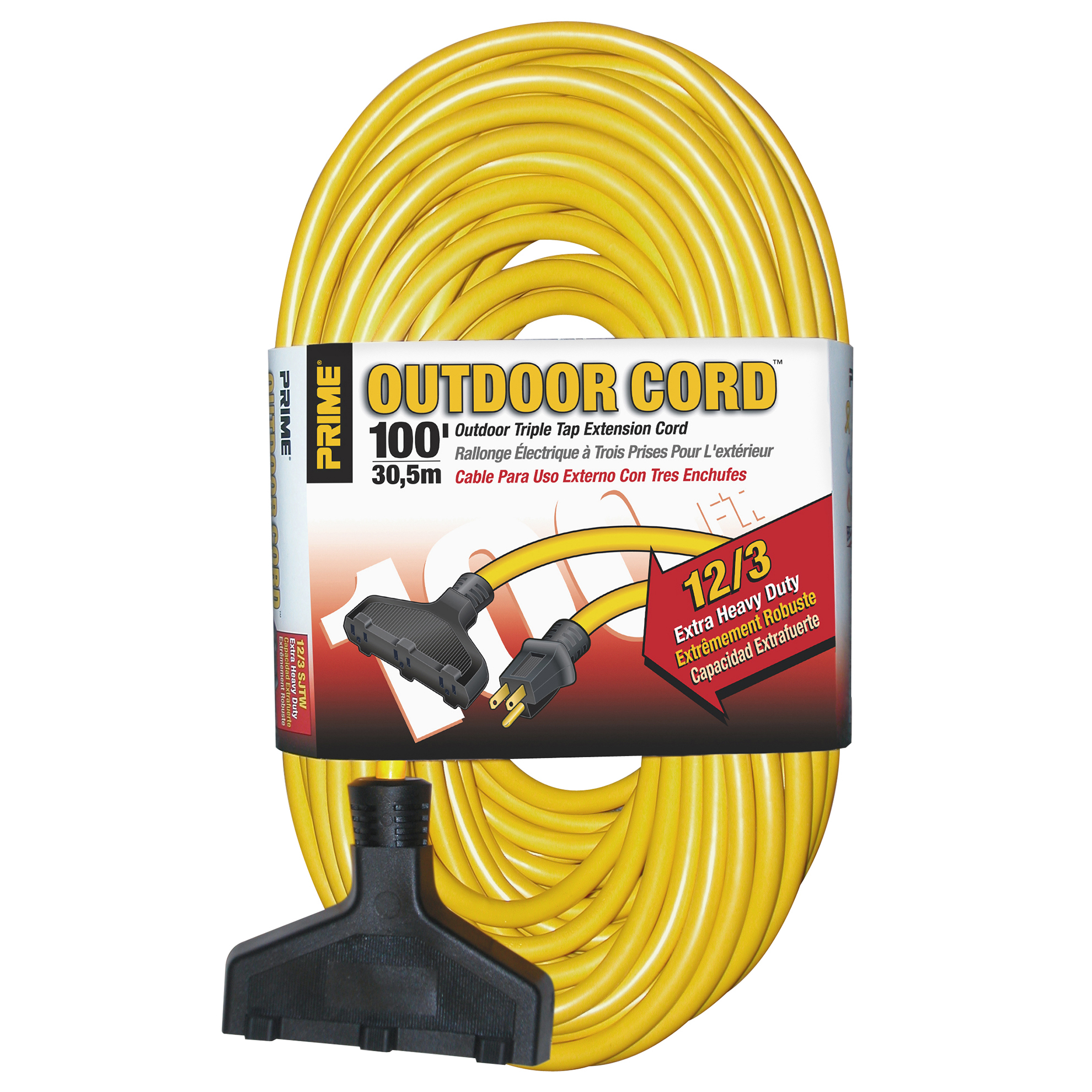 Prime EC600835 100' 12/3 SJTW Yellow Triple-Tap Outdoor Extension Cord