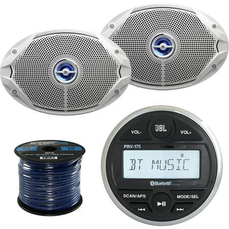 JBL PRV-175 Gauge Style Marine Boat Yacht Digital Media Bluetooth Audio Stereo Receiver Bundle Combo With 2x JBL MS9520 6x9