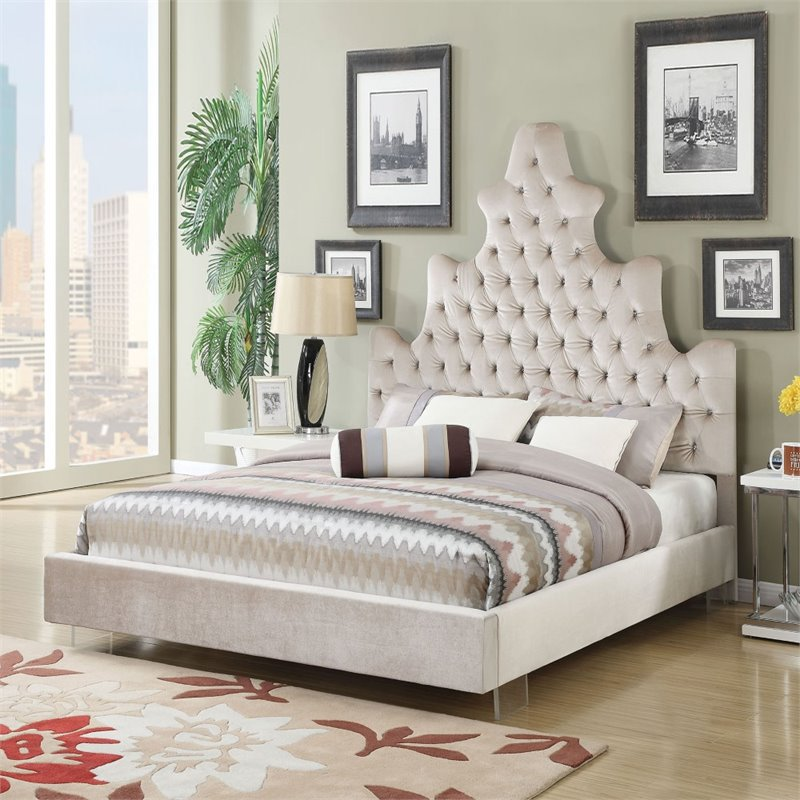 ACME Furniture Honesty Plush King Bed in Sand by Acme Furniture