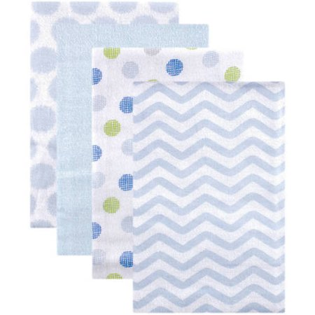 Luvable Friends Baby Boy and Girl Flannel Receiving Blanket, 4-Pack - Blue Chevron