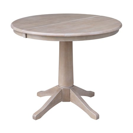 36 Quot Round Dining Table With 12 Quot Leaf Washed Gray Taupe