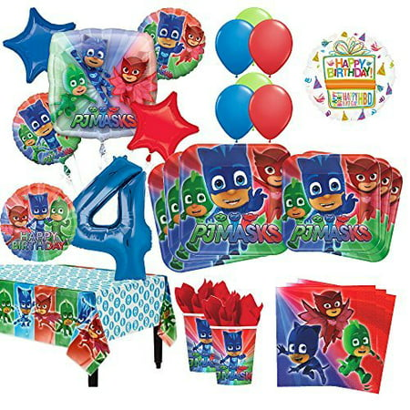 PJ Masks 4th Birthday Party Supplies 16 Guest Kit And Balloon Bouquet Decorations 96pc