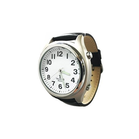 Atomic Talking Watch for The Blind with Extra Spare Battery and Microfiber Cleaning Cloth (Black Leather Pacific Standard Time)