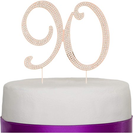 Ella Celebration 90 Cake Topper for 90th Birthday - Rhinestone Number Party Supplies & Decoration Ideas (Rose