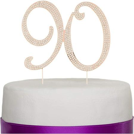 Halloween Bday Cake Ideas (Ella Celebration 90 Cake Topper for 90th Birthday - Rhinestone Number Party Supplies & Decoration Ideas (Rose)
