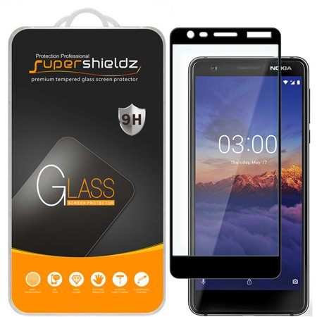 [1-Pack] Supershieldz for Nokia 3.1 [Full Screen Coverage] Tempered Glass Screen Protector, Anti-Scratch, Bubble Free (Black Frame) ()