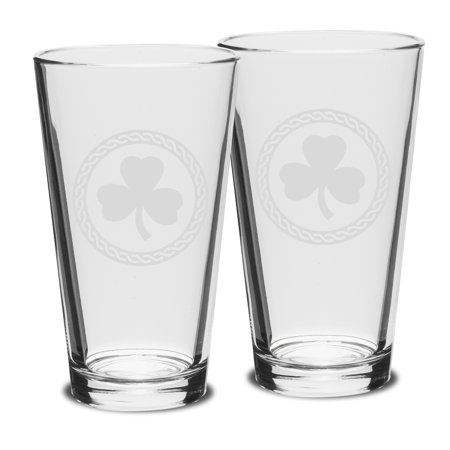 Shamrock Celtic Logo 16 OZ Classic Pub Glass - Set of (Shamrock Pub)