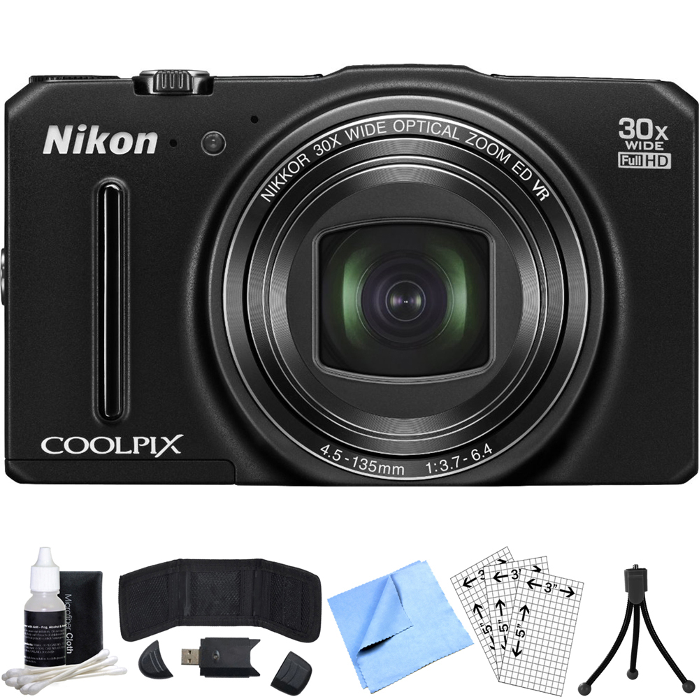 Nikon COOLPIX S9700 16MP Digital Camera (Black) Refurbished Bundle includes COOLPIX S9700, Card Reader, Mini Tripod, Screen Protectors, Cleaning Kit, Memory Card Wallet and Beach Camera Cloth