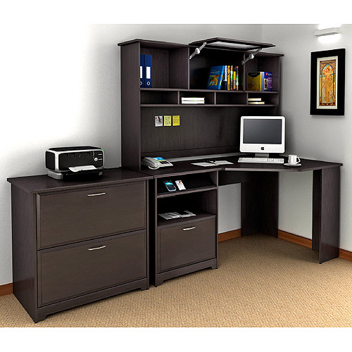 "Bush Cabot 60"" Corner Computer Desk, Hutch, and Lateral File Set, Espresso Oak"