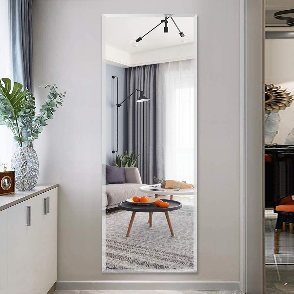 Neutype Full Length Wall Mirror 47 X 12 Frameless Rectangle Mirror 1 Polished Beveled Edge Vertical And Horizontal Adhesive Mounting Walmart Com Walmart Com