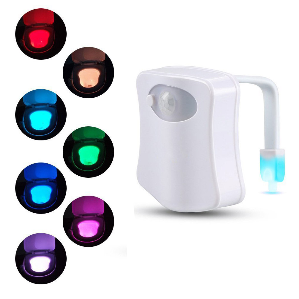 2PACK AGPtek Sensor Motion Activated LED Toilet Bowl Night Light with 2 Modes in 8 Color Changing