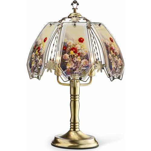 "Ore 23.5"" Gold Floral Garden Touch Lamp"
