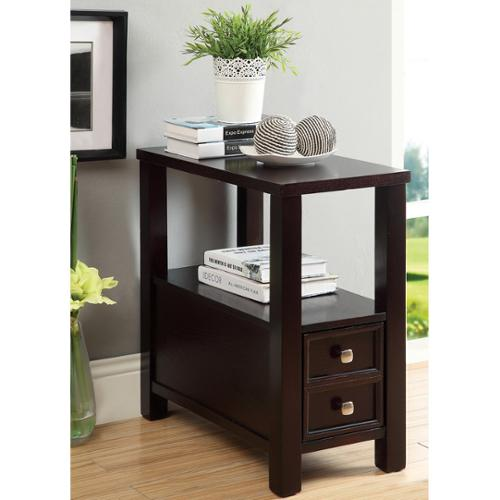 Furniture of America Espresso Lenzo Side Table with Storage Drawer