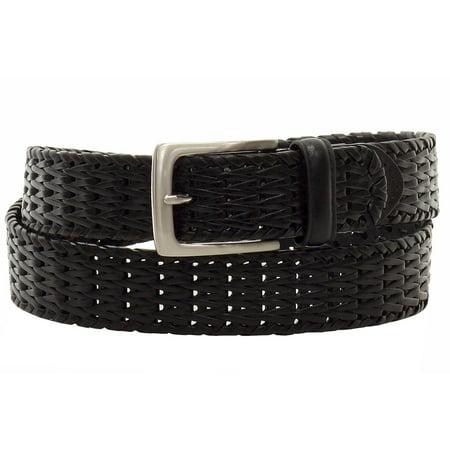 Men's Black Hand Woven Genuine Leather Belt Black Leather Woven Belt