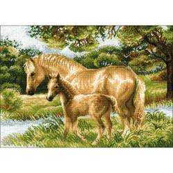 Horse Cross Stitch - RIOLIS Horse With Foal Counted Cross Stitch Kit-15.75