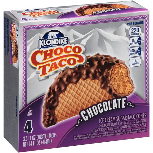 Klondike Choco Taco Chocolate Ice Cream Sugar Taco Cones, 3.5 fl oz, 4 ct