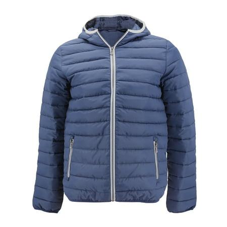 Men's Puffer Hooded Lightweight Zip Insulated Packable Quilted Jacket (Dark Navy, XS)