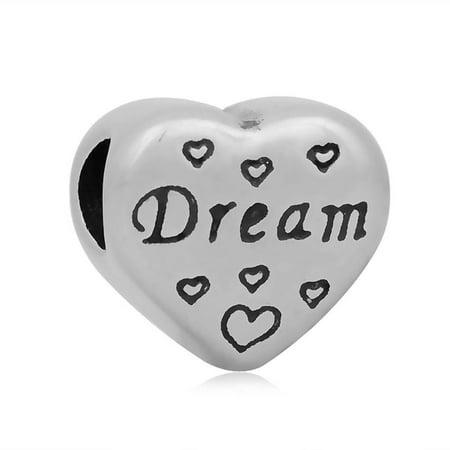 Stainless Heart Shaped Dream Charm Bead Fits Pandora Style Charm Bracelets
