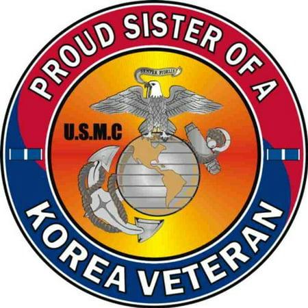 Magnet Us Marine Corps Proud Sister Of A Korea Veteran Decal