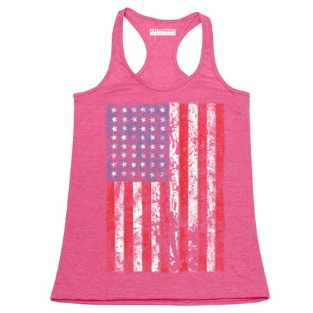 P&B Distressed USA Flag 4th of July Independence Day Women's Tank Top, Heather Pink, S