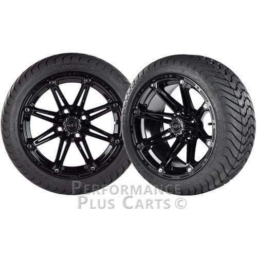 "Element 14"" Black Golf Cart Wheels with Cobra Street Tires - Set of 4"
