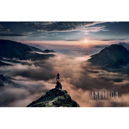 Motivational Poster (Ambition - Motivational Poster / Print (Aspire To Climb As High As You Can Dream) (Size: 36