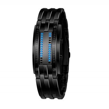 Black Wristwatch Stainless Steel Blue Led Binary Luminous Mens Sport Watches