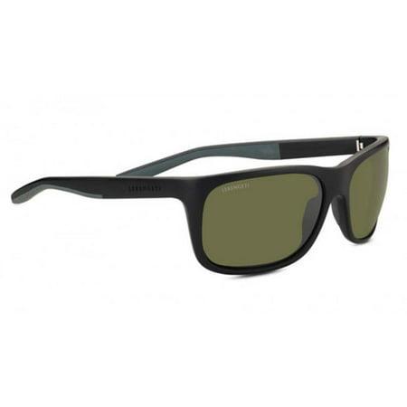 Serengeti Classic Sunglasses - Serengeti Eyewear Sunglasses Ettore Sanded Black/Grey Polarized 555NM Green Lens