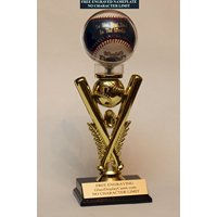 Youth Baseball Personalized Display Case for a Game Ball Award - Trophy. Custom Ball Holder - Free Engraving