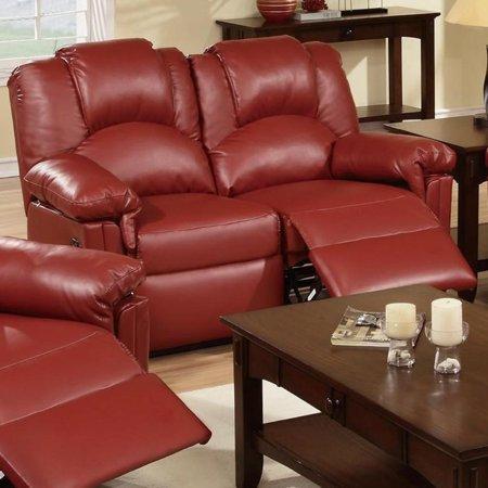 Bonded Leather Recliner Loveseat Red Walmart Com