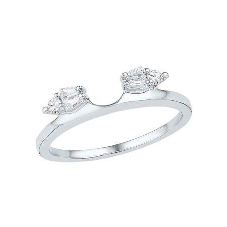 14kt White Gold Womens Baguette Diamond Ring Guard Wrap Solitaire Enhancer 1/5 Cttw