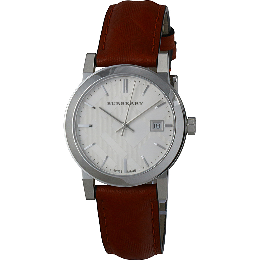 Burberrys Silver Dial Genuine Leather Strap Ladies Watch ...