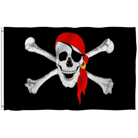 ANLEY [Fly Breeze] 3x5 Feet Jolly Roger Flag with Red Bandana - Vivid Color and UV Fade Resistant - Canvas Header and Brass Grommets - Pirate Banner Flags](Flag Bandana)
