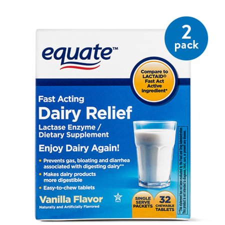 Brown Chewable - (2 Pack) Equate Fast Acting Dairy Relief Lactase Enzyme Vanilla Chewables, 32 Ct