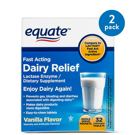 (2 Pack) Equate Fast Acting Dairy Relief Lactase Enzyme Vanilla Chewables, 32 Ct