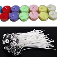 Pack 100 Pre Waxed Candle Wicks for Candle Making With Sustainers 12cm Long