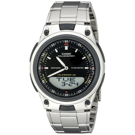 Men's AW80D-1AVCB 10-Year Battery Ana-Digi Bracelet Watch, Round watch in stainless-steel featuring logo at 12 o'clock and three-link bracelet strap with.., By Casio ()
