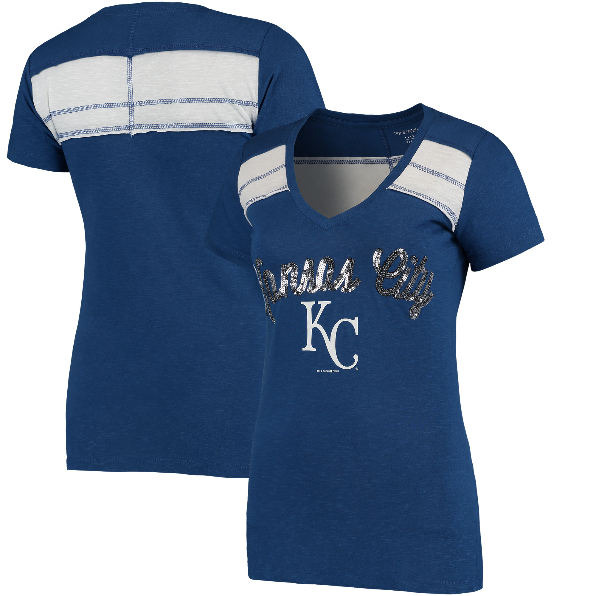 Kansas City Royals 5th & Ocean by New Era Women's MLB Slub V-Neck With Contrast Inserts T-Shirt - Heathered Royal