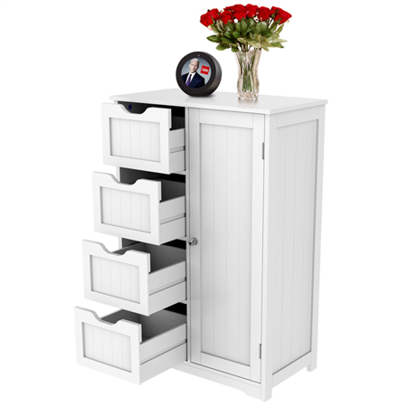 White Bathroom Furniture - Wooden Bathroom Floor Cabinet, Side Storage Organizer Cabinet with 4 Drawers and 1 Cupboard, White