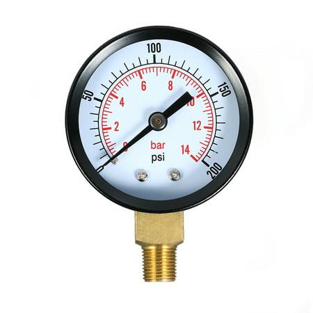 0~200psi 0~14bar Dual Scale Mechanical Pressure Gauge Pool Filter Aquarium Water Air Pressure Gauge Meter 1/8 inch NPT Bottom Mount - image 7 of 7