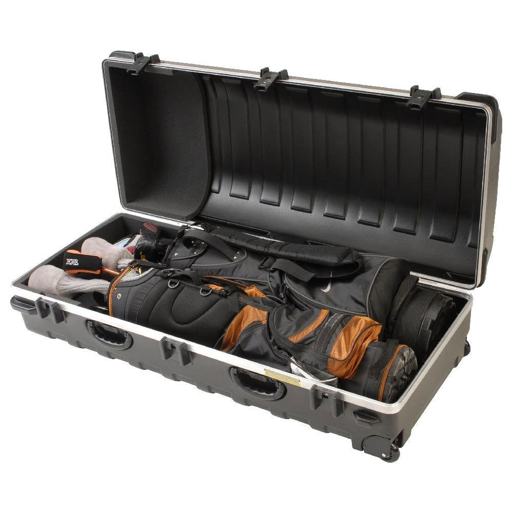 SKB Cases Double ATA Standard Hard Plastic Storage Wheeled Golf Bag Travel Case by SKB Cases