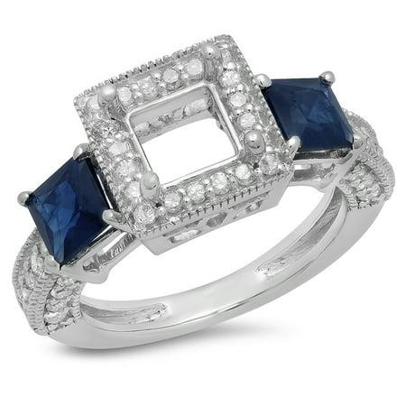 Sapphire Semi Mount - 1.60 Carat (ctw) 14K White Gold Princess Cut Blue Sapphire & Round Cut White Diamond Ladies Semi Mount Engagement Bridal
