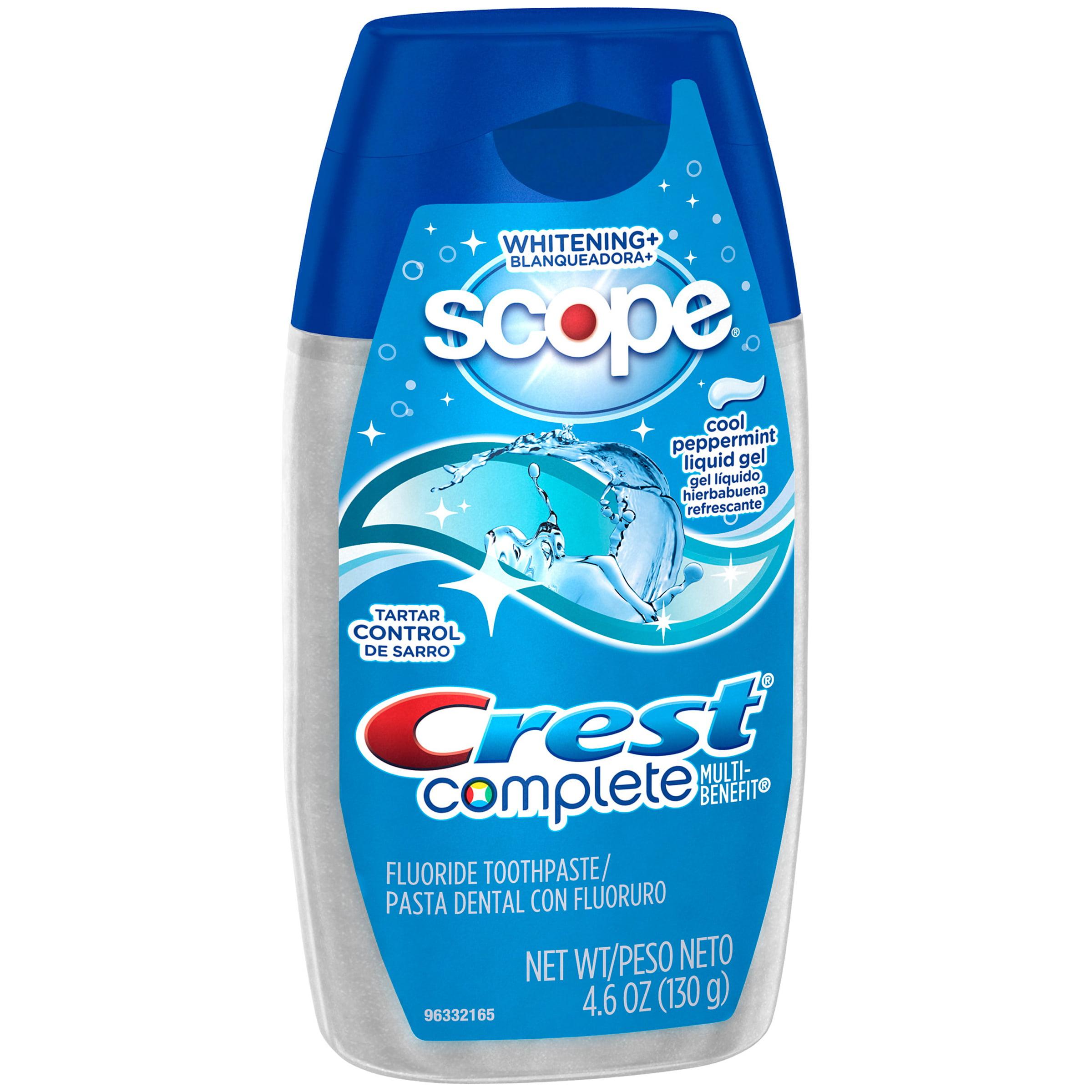 Crest Complete Multi-Benefit Whitening + Scope Cool Peppermint Flavor Liquid Gel Toothpaste 4.6 Oz