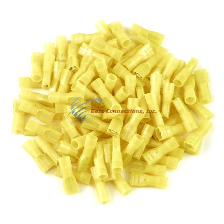 100 PK Yellow Female Disconnect Nylon 12-10 Gauge 1/4