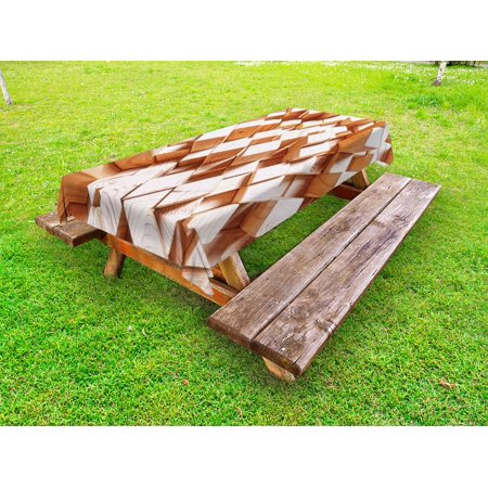 Rustic Style Log (Geometric Outdoor Tablecloth, Natural Wooden Rustic Style Square Figures High and Low Oak Logs Timbre Design, Decorative Washable Fabric Picnic Tablecloth, 58 X 120 Inches, Sand Brown, by)