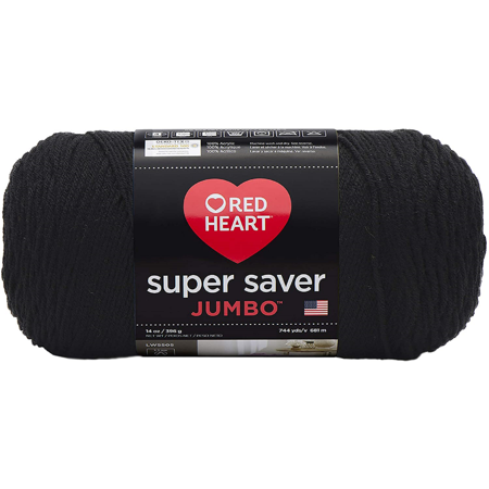 RED HEART E302C.0312 Super Saver Jumbo Yarn, Black