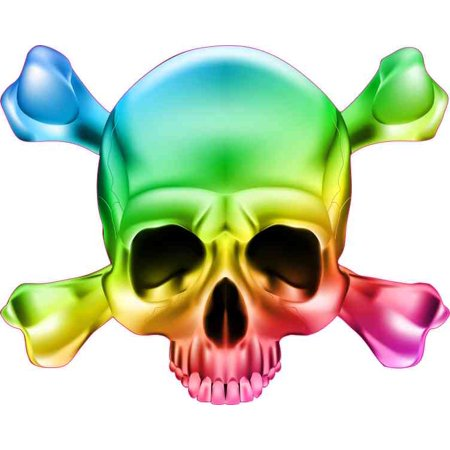 5in x 5in Colorful Skull and Cross Bones Bumper Sticker Vinyl Window Decal