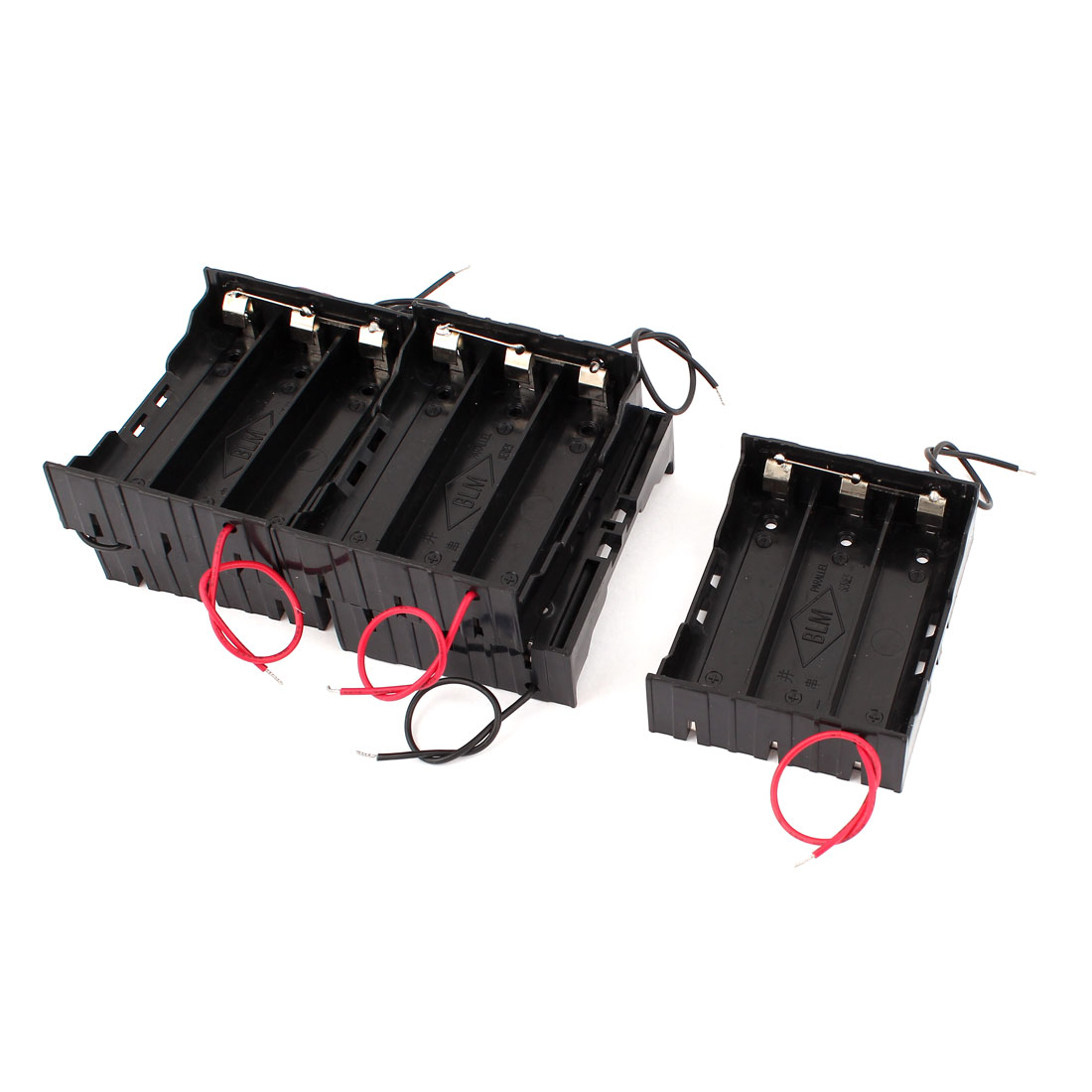 Unique Bargains 2 Wires Lead Plastic In Parallel 3x37v 18650 Series Battery Pack Wiring Holder Box Case 4 Pcs