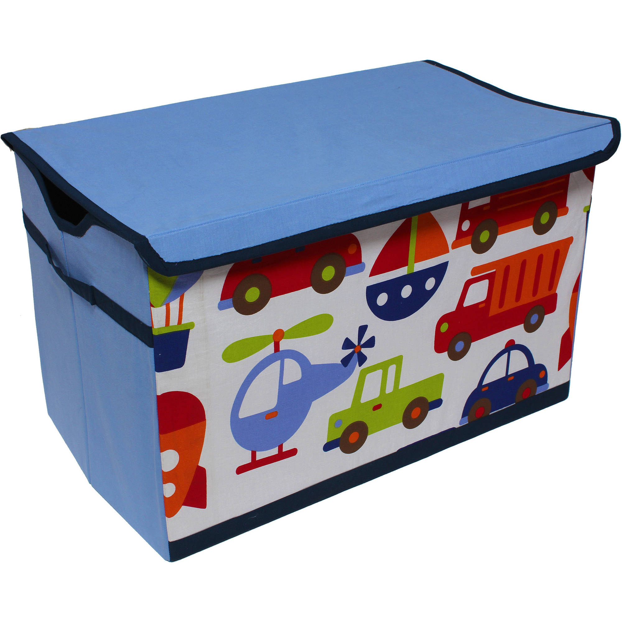 Bacati - Transportation Cotton Percale Fabric covered Storage, Toy Chest, 24.5 L x 15 W x 14 H inches